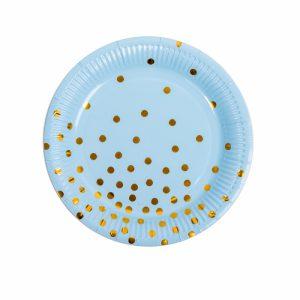 Set 10 farfurii party buline albastru