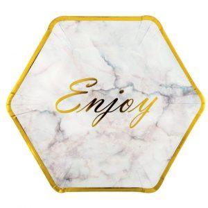 """Set 6 farfurii carton """"Enjoy"""" white marble gold 23 cm"""