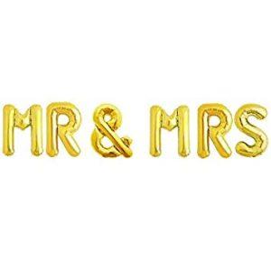 "Set baloane litere ""MR&MRS"" 36cm gold"