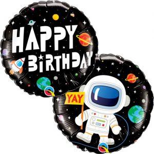 Balon Happy Birthday Astronaut rotund doua fete 45 cm