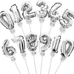 Balon topper tort, cifra, silver, 13cm