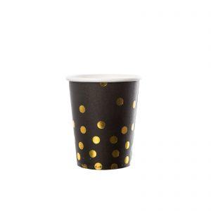 Set pahare dots, negru