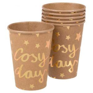 "Set 6 pahare carton ""Cosy day"" browncu insertii aurii 270ml"