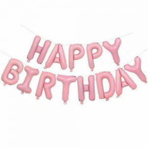 """Set baloane litere """"HAPPY BIRTHDAY"""" 350 x 36 cm roz"""