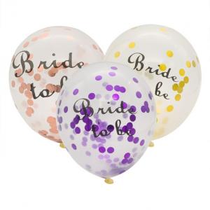 """Set 10 baloane 30cm inscriptionate """"Bride to be"""" confetii mov rosegold auriu"""