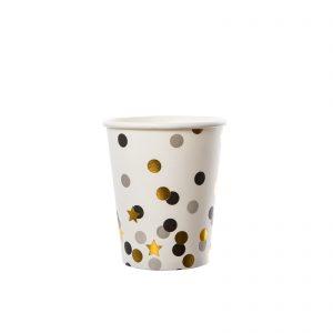 Set pahare star&dots mix negru-auriu-gri