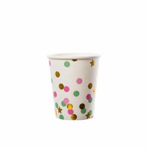 Set pahare star&dots mix vernil-auriu-roz